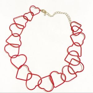 Delicate Red Heart Chain Necklace